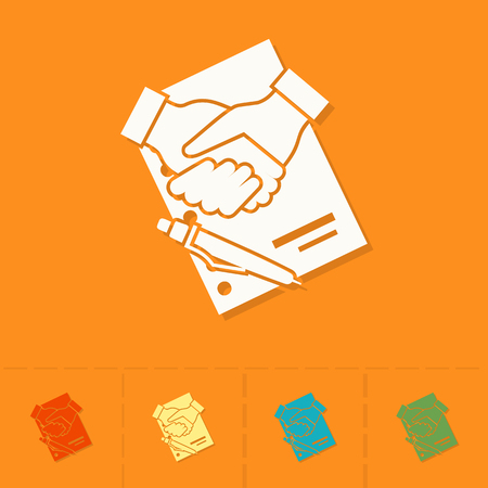 financial agreement: Financial Agreement, Handshake. Business and Finance, Single Flat Icon. Simple and Minimalistic Style. Vector