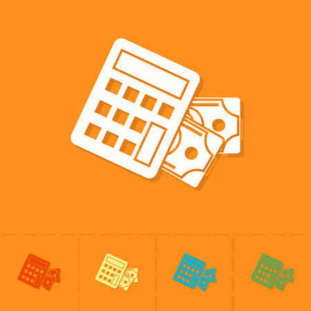 calculator money: Calculator and Money. Business and Finance, Single Flat Icon