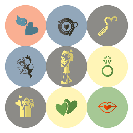 couple kiss: Simple Flat Icons Collection for Valentines Day, Wedding, Love and Romantic Events