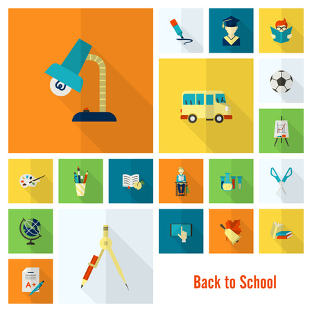 bio icon: School and Education Icon Set. Flat design style. Vector