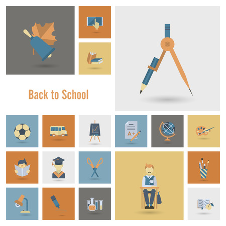 education icon: School and Education Icon Set. Flat design style. Vector