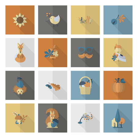 birds in a tree: Set of Flat Autumn Icons. Simple and Minimalistic Style. Vector