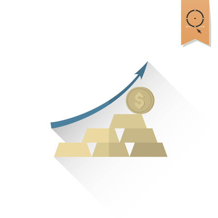 pointing up: Business Graph with Arrow Pointing Up. Business and Finance, Single Flat Icon. Simple and Minimalistic Style. Vector