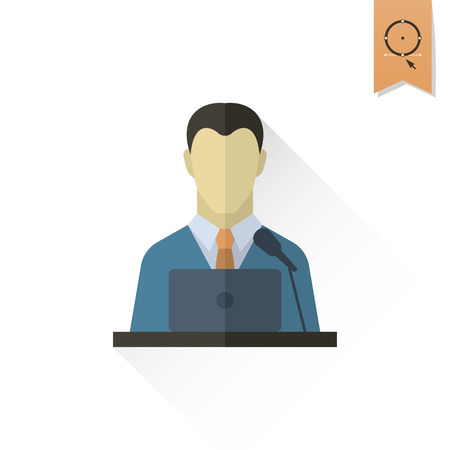 tribune: Orator Speaking from Tribune. Business and Finance, Single Flat Icon. Simple and Minimalistic Style. Vector
