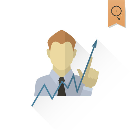 pointing up: Business Graph with Hand Pointing Up. Business and Finance, Single Flat Icon. Simple and Minimalistic Style. Vector Vettoriali