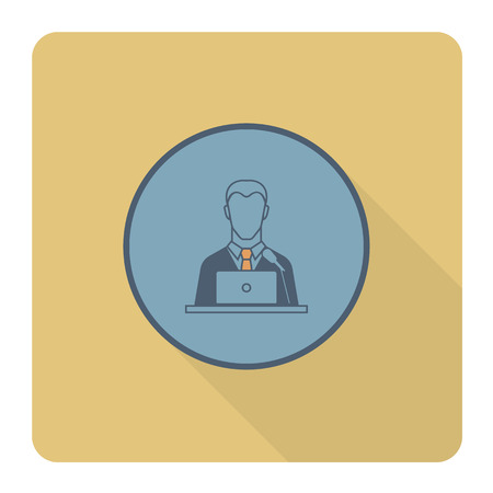 orator: Orator Speaking from Tribune. Business and Finance, Single Flat Icon. Simple and Minimalistic Style. Vector