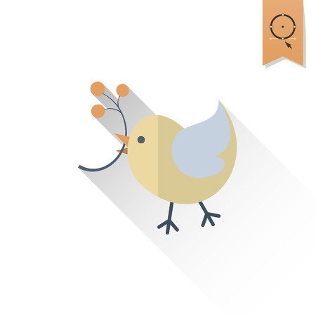 viburnum: Bird with Viburnum. Single Flat Autumn Icon . Simple and Minimalistic Style.