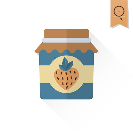 strawberry jam: Jar of Strawberry Jam and Strawberry. Single Flat Autumn Icon . Simple and Minimalistic Style.
