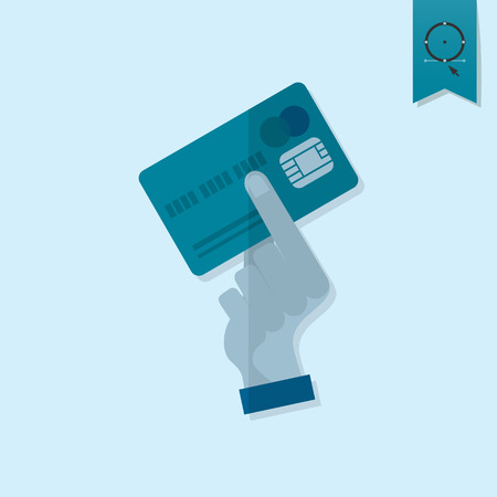 cashless payment: Hand Holding a Credit Card. Business and Finance, Single Flat Icon. Simple and Minimalistic Style. Vector Illustration