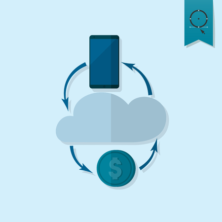 making money: Making Money and Profit From Cloud Databases. Business and Finance, Single Flat Icon. Simple and Minimalistic Style. Vector Illustration