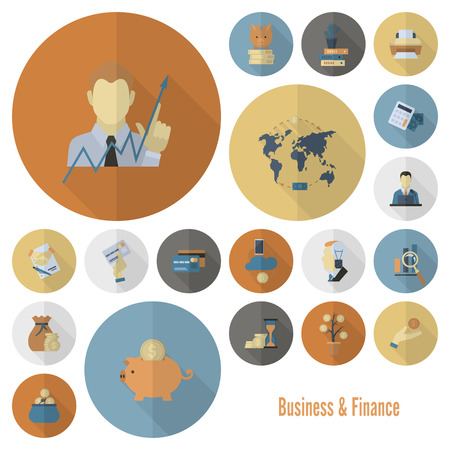 finance concept: Business and Finance, Flat Icon Set. Simple and Minimalistic Style. Vector