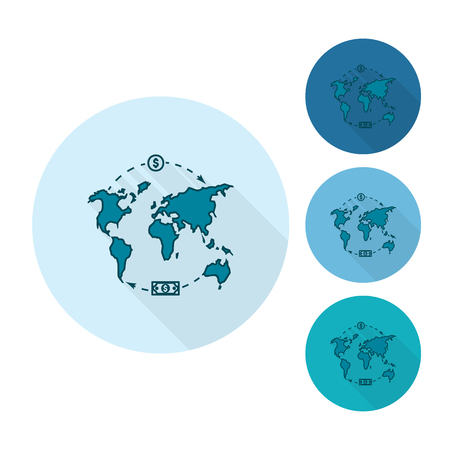 World map and money business and finance single flat icon world map and money business and finance single flat icon simple and minimalistic gumiabroncs Gallery