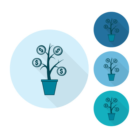 flower tree: Money Flower. Business and Finance, Single Flat Icon. Simple and Minimalistic Style. Vector