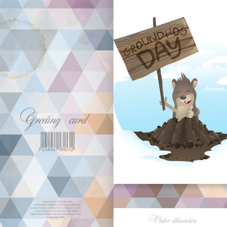 marmot: Greeting Card Design, Template. Happy Groundhog Day.  Vector Illustration Eps 10.
