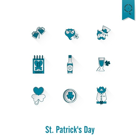 leprechaun hat: Saint Patricks Day Isolated Icon Set. Vector. Clean Work Minimum Points Illustration