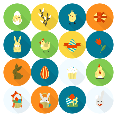 easter cake: Celebration Easter Icons. Vector. Clean Work Minimum Points