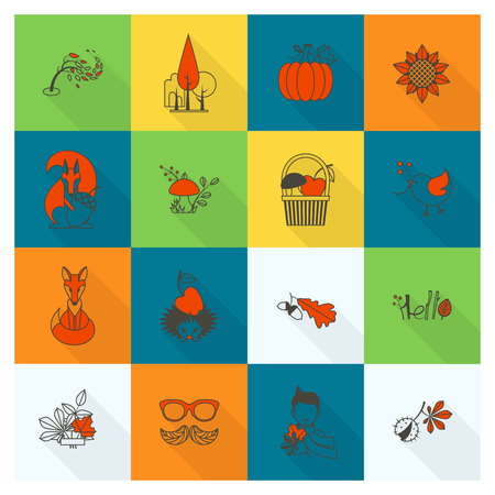 grapes and mushrooms: Set of Flat Autumn Icons. Simple and Minimalistic Style. Vector