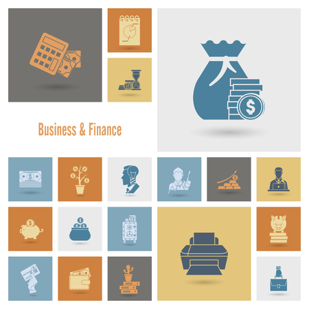 cashless payment: Business and Finance, Flat Icon Set. Simple and Minimalistic Style.