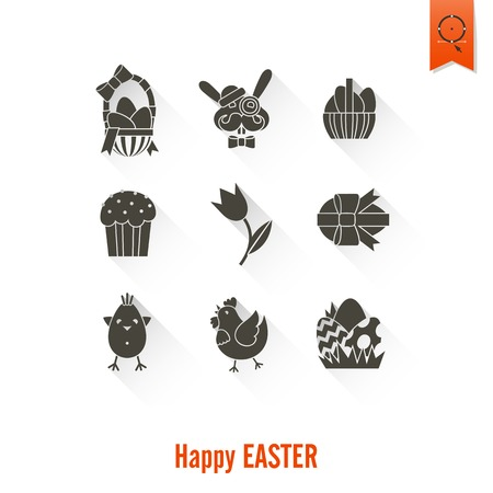 easter cake: Celebration Easter Icons. . Clean Work Minimum Points Stock Photo