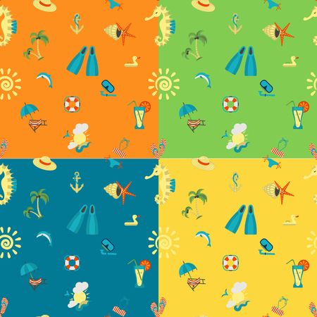 sunburnt: Four Background in Different Colors, Summer and Beach.