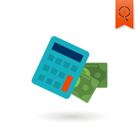 calculadora: Calculadora y dinero. Negocios y Finanzas, icono plano individual. Simple y estilo minimalista.