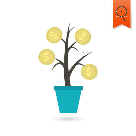 flower tree: Money Flower. Business and Finance, Single Flat Icon. Simple and Minimalistic Style.