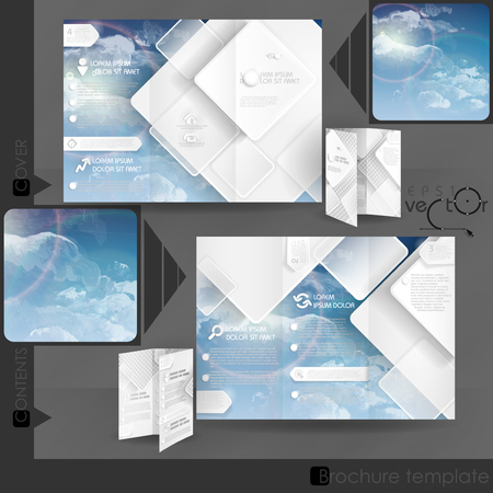 brochure template: Business Brochure Template Design With White Square Elements. Illustration