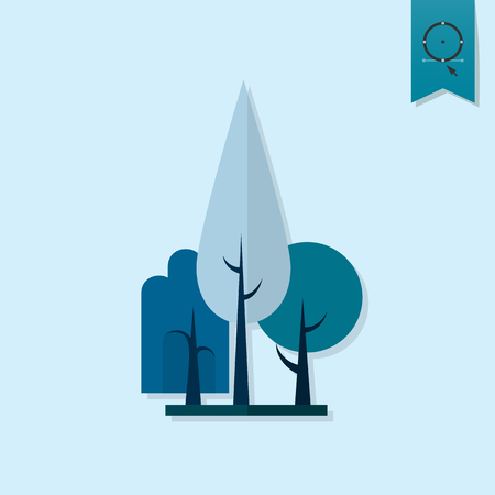 poplar: Stylized Tree. Single Flat Autumn Icon . Simple and Minimalistic Style.