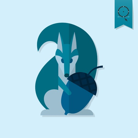 acorn squirrel: Squirrel Holding Acorn. Single Flat Autumn Icon . Simple and Minimalistic Style.