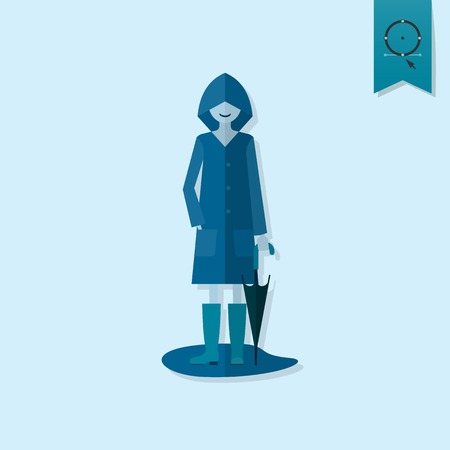 raincoat: Woman with Umbrella and Raincoat on the Puddle. Single Flat Autumn Icon . Simple and Minimalistic Style. Stock Photo