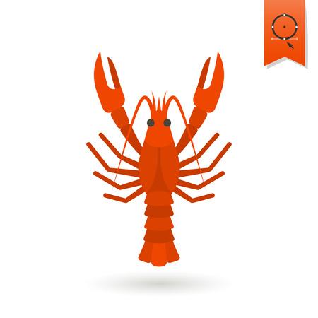 lobster: Boiled Lobster. Oktoberfest Beer Festival. Flat design style. Vector Illustration