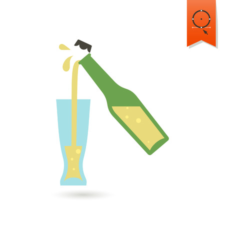 pouring beer: Pouring Beer in Glass. Oktoberfest Beer Festival. Flat design style. Vector Illustration