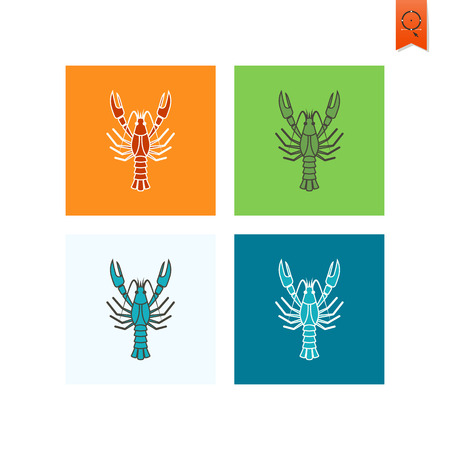 boiled: Boiled Lobster. Oktoberfest Beer Festival. Flat design style. Vector Illustration