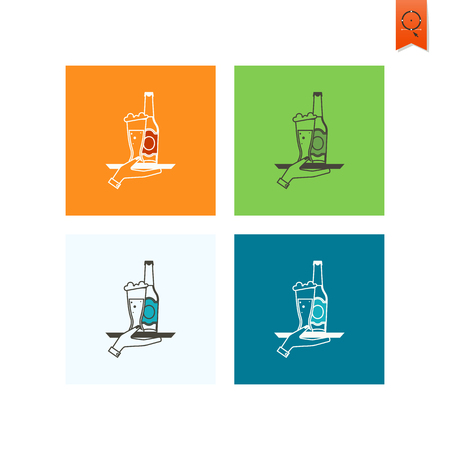 waitresses: Waitresses Hand Holding a Tray with a Glass of Beer. Oktoberfest Beer Festival. Flat design style. Vector Illustration