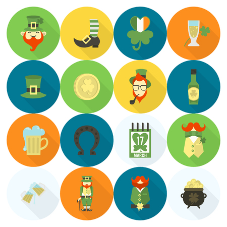 leprechaun hat: Saint Patricks Day Icon Set. Vector. Clean Work Minimum Points