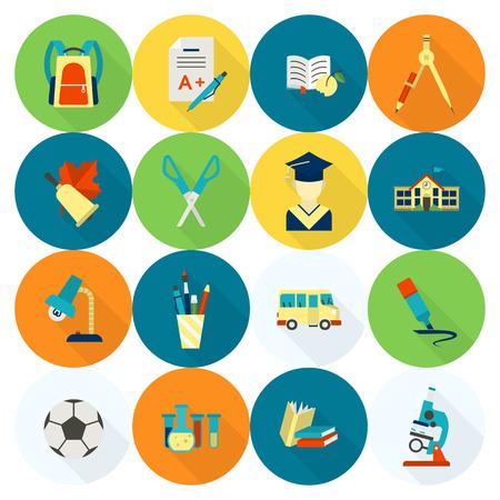 autobus escolar: Escuela y Educación Icon Set. Estilo de diseño plano.