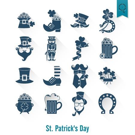 quatrefoil: Saint Patricks Day Isolated Icon Set. . Clean Work Minimum Points
