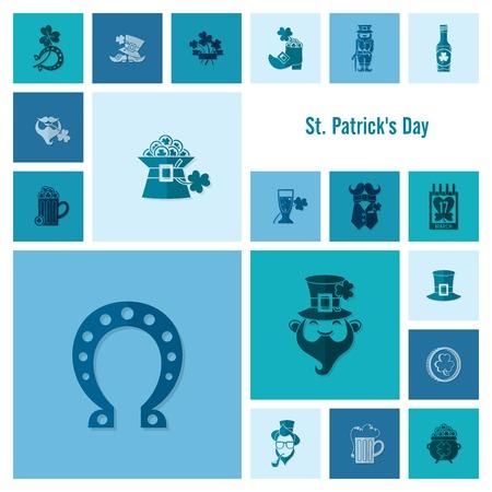 quatrefoil: Saint Patricks Day Icon Set. . Clean Work Minimum Points