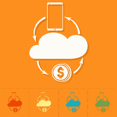 making money: Making Money and Profit From Cloud Databases. Business and Finance, Single Flat Icon. Simple and Minimalistic Style.