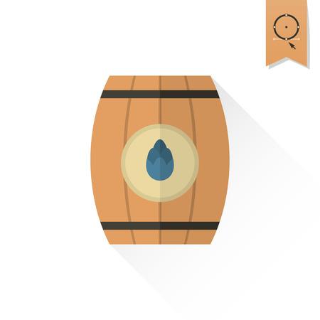brewery  hops: Wooden Barrel. Oktoberfest Beer Festival. Long Shadow. Flat design style. Vector Illustration