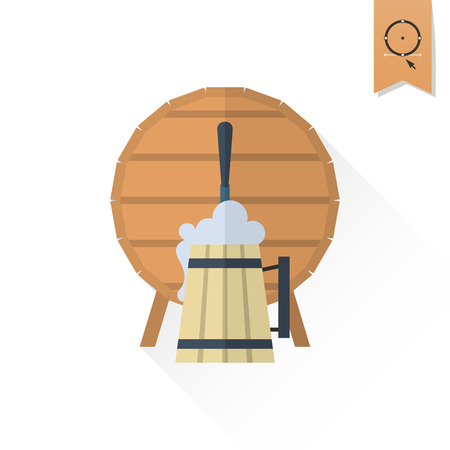 brewery  hops: Beer Barrel with Mug. Oktoberfest Beer Festival. Long Shadow. Flat design style. Vector