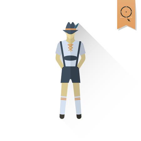 long socks: Man in Traditional Bavarian Suit. Oktoberfest Beer Festival. Long Shadow. Flat design style. Vector Illustration