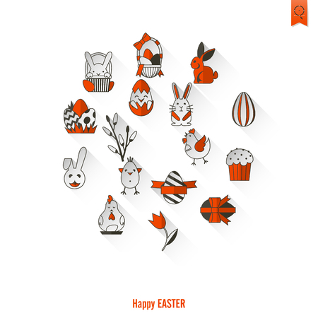 red cross red bird: Celebration Easter Icons. Vector. Clean Work Minimum Points