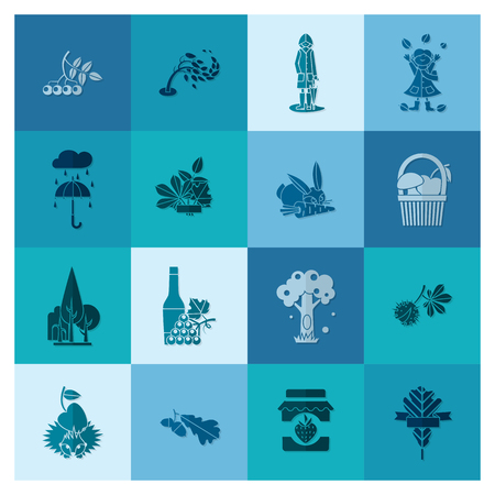 fall harvest: Set of Flat Autumn Icons. Simple and Minimalistic Style. Vector