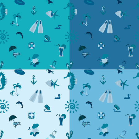 longue: Four Background in Different Colors, Summer and Beach.