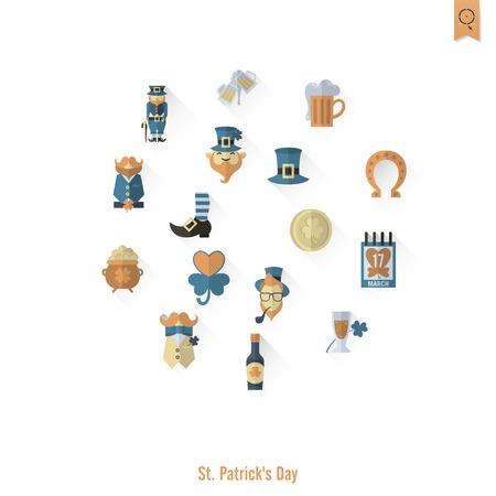 quatrefoil: Saint Patricks Day Isolated Icon Set. Vector. Clean Work Minimum Points Illustration