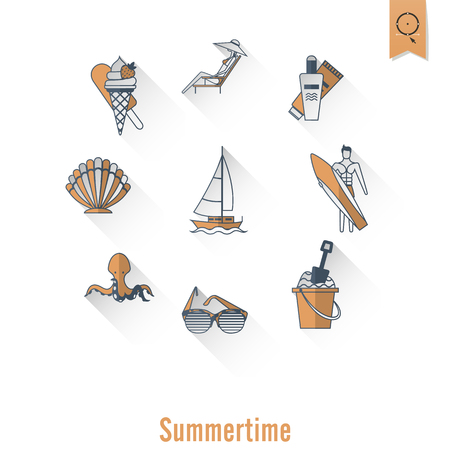 longue: Summer and Beach Simple Flat Icons, Travel and Vacation.