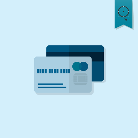 cashless payment: Credit Card. Business and Finance, Single Flat Icon. Simple and Minimalistic Style.