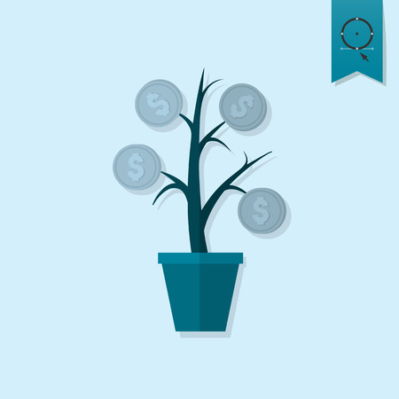 money tree: Money Flower. Business and Finance, Single Flat Icon. Simple and Minimalistic Style.