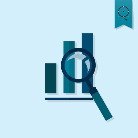 single: Magnifying Glass with Bar Chart. Business and Finance, Single Flat Icon. Simple and Minimalistic Style.